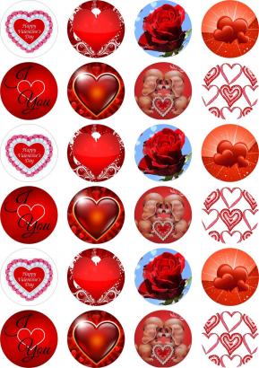 24 ks obrázků z jedlého papíru valentýn 2