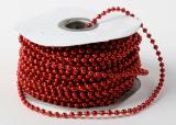 Perličky na niti červené  3 mm