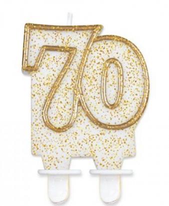 Svíčka narozeninová číslice zlatá  70
