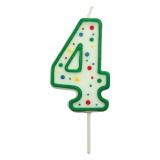 Svíčka na dort zelená puntík  4