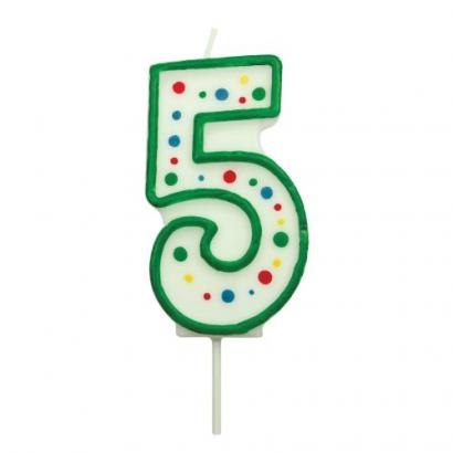 Svíčka na dort zelená puntík  5