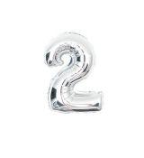 Fóliový balónek stříbrný číslo 2