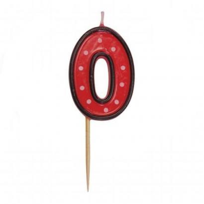 Svíčka  na dort červená puntík  0