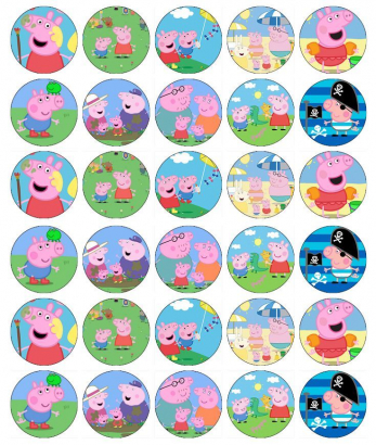 30 ks obrázků z jedlého papíru peppa pig