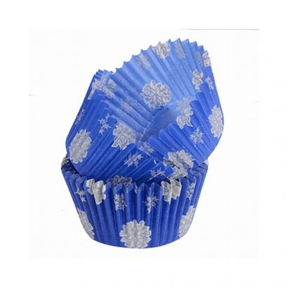 Papírové košíčky modré - vločky