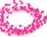 Růžové perleťové perličky na vlasci 1 m