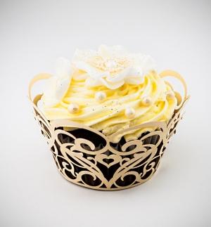 Košíčky na cupcakes  12 ks  zlaté srdce