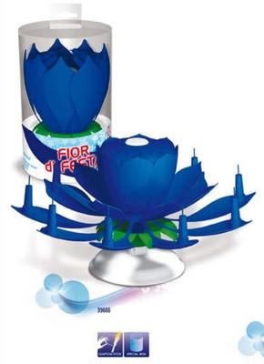 Hrající fontána a svíčky modrá