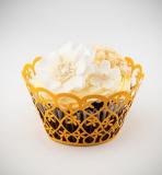 Košíčky na cupcakes  12 ks  oranžové - květiny