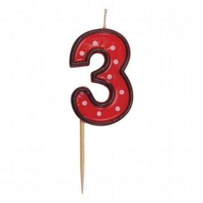 Svíčka  na dort červená puntík  3
