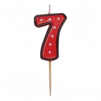 Svíčka  na dort červená puntík  7
