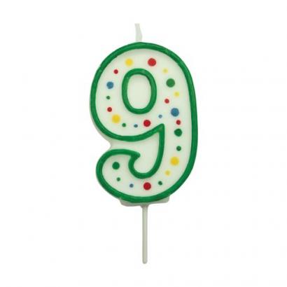 Svíčka na dort zelená puntík  9