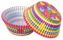 Papírové košíčky srdíčka barevná