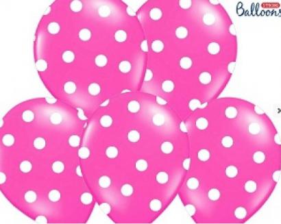 Balonek růžový s puntíky  1 ks
