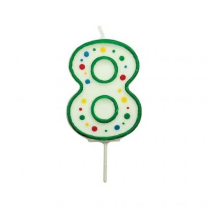Svíčka na dort zelená puntík  8