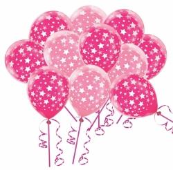 Barevné balonky růžové hvězdičky