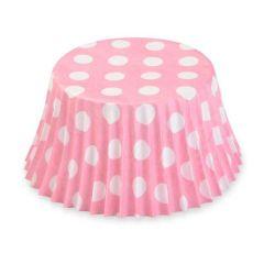 Cukrářské košíčky růžové s puntíky  50 ks