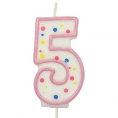 Svíčka  na dort růžový puntík  5