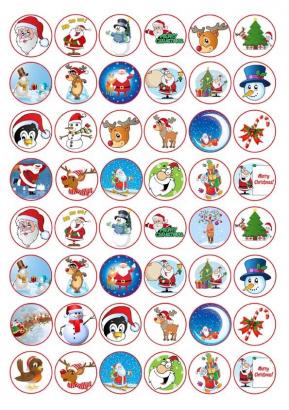 48 ks  obrázků z jedlého papíru vánoce 2