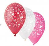 Balonek potisk srdíčka   1 ks