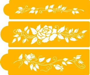 Stencila - bordury květin 3 ks