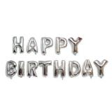 Fóliový balónek stříbrný happy birthday